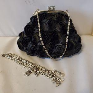 Handbags - Black Rose Textured Evening Bag or Clutch